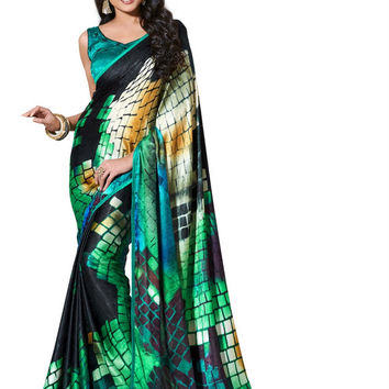 Trendy Graphic Block Print Green Designer Satin Saree D-108