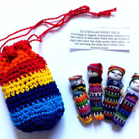 Worry Dolls in Crochet Bag by VillageGalleryDesign on Etsy
