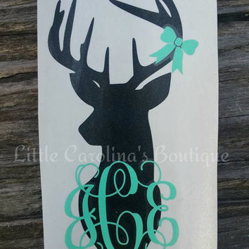 Buck with Monogram & Bow Decal