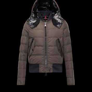 Moncler Women Agathe Water Resistant Hooded Aviator Jacket-Military