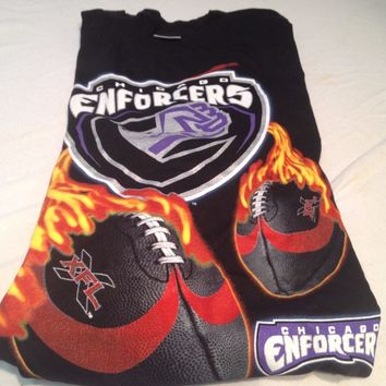 BRAND NEW RETRO CHICAGO ENFORCERS BLACK XFL SHORT SLEEVE TEE SHIRT SHIPPING
