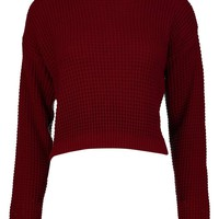 Lucy Turtle Neck Waffle Knit Crop Jumper