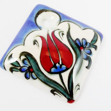 OOAK Large Hand painted Turkish Cini Ceramic Pendant - Red Tulip Flower White No: 50 - 1pc