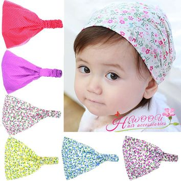 WENDYWU Children Beauty Fabric Flower Headband Elastic Wide Turban Hairband Head Wrap Hair Accessories For Kids