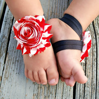 Baby Barefoot Sandals .. Red and White Flowers .. Toddler Sandals .. Newborn Sandals