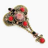 DeLizza and Elster Pink Moroccan Brooch Pendant