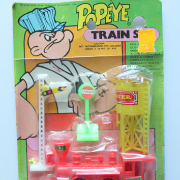 Vintage Larami Popeye Miniature Train Set Toy 1973