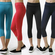 Solid Capri Length Waistband Stretch Workout Mesh Contast Yoga Cycling Pants