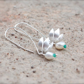 Modern flower bud earrings Contemporary woodland theme jewellery Sterling blossom dangles Contemporary nature inspired Lotus bud earrings