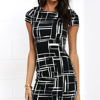Long and Drawn Out Black Print Midi Dress