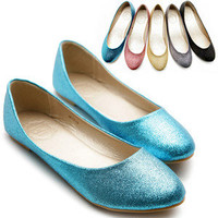 New Womens Ballet Flat Loafers Cute Comfort Glitter Low Heels Multi Color Shoes