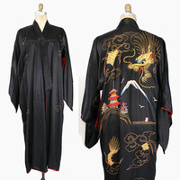 Vintage JAPANESE Embroidered Metallic Satin KIMONO / Gold DRAGON Hand Embroidered Robe