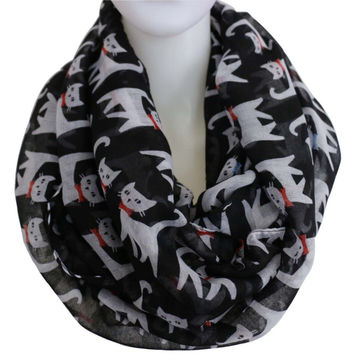2017 New Fashion Green Multicolor Cat Scarves Black Infinity Loop Scarf For Ladies Women Free Shipping