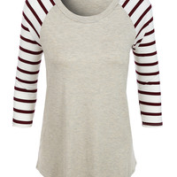 LE3NO Womens Loose Round Neck Striped Raglan Sleeve Baseball T Shirt (CLEARANCE)