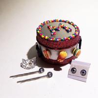 FREE SHIPPING Cutest gift idea ever! Jewelry kit with a set of earings, 2 bobby pins and a ring, with interchangeable junk food charms!