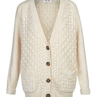 Cream Honeycomb Knit Longline Boyfriend Cardigan