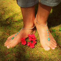 Blue Barefoot Sandals // Barefoot Sandles // Beach // Ocean Jewelry // Summer // Hoop shoes // Hippie shoes // Statement // Chic // Spring