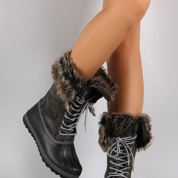Bamboo Faux Fur Cuff Lace Up Duck Boots