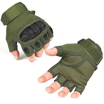 FREETOO® Outdoor Fingerless Military Tactical Gloves for Airsoft Hunting Riding Game Color Army Green Size M