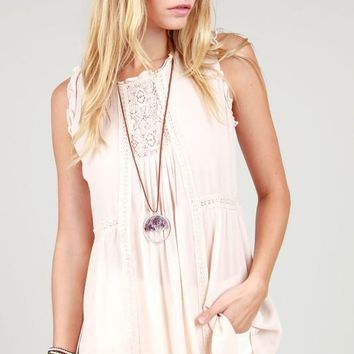 POL Blush Sleeveless Lace Tank Top