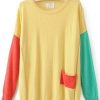 Color Block Round Neck Yellow Sweater S003191
