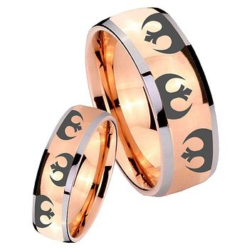 His Hers Rose Gold Dome Star Wars Rebel Alliance Two Tone Tungsten Wedding Rings Set