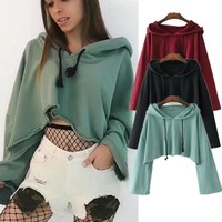 Ladies Hoodies Crop Top Sweatshirts [29176463375]