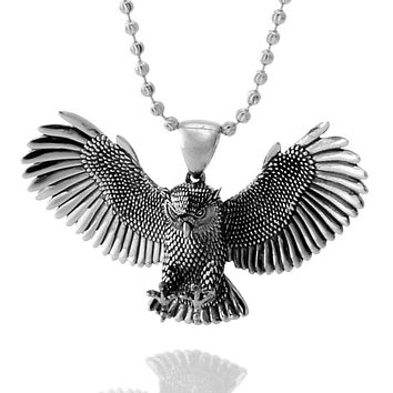 The White Gold Great Horned Owl Necklace