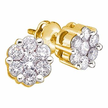 10kt Yellow Gold Women's Round Diamond Flower Cluster Earrings 1-4 Cttw - FREE Shipping (US/CAN)