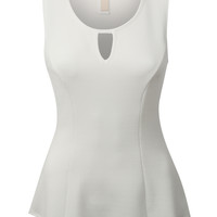 LE3NO Womens Soft Sleeveless Round Neck Peplum Top (CLEARANCE)