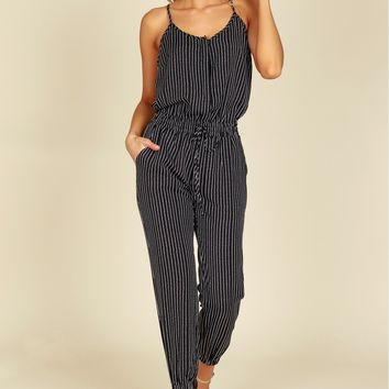 Striped Elastic Jogger Jumpsuit.