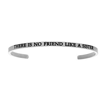 Intuitions Stainless Steel THERE IS NO FRIEND LIKE A SISTER Diamond Accent Cuff Bangle Bracelet