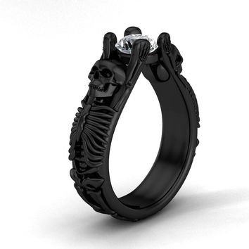 The Skull and Bones Engagement Ring in Solid Virgin 10 K Gold