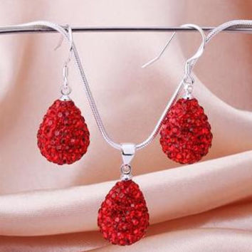 Red Crystal Paving Elliptical water droplets earrings necklace Wedding jewelry set