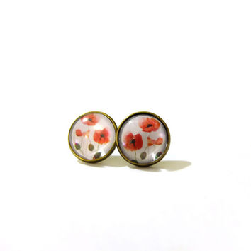 Poppy Earring, Red Poppy Earrings, Red Poppy Flowers, Poppy Studs, Red Poppy Art, Red Poppies, Stud Earrings, Stud Earings, Clip On Earring