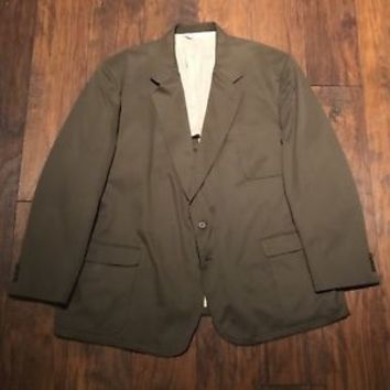 TravelSmith 2 Button Sport Coat Jacket Olive Green Made in USA Mens 54R Big Tall