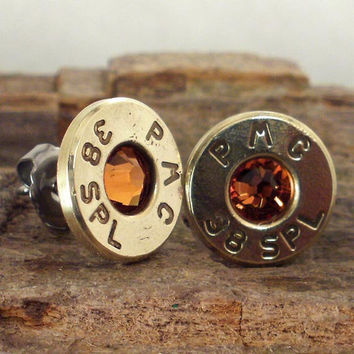 Bullet Earrings Ultra Thin Topaz November by ShellsNStuff