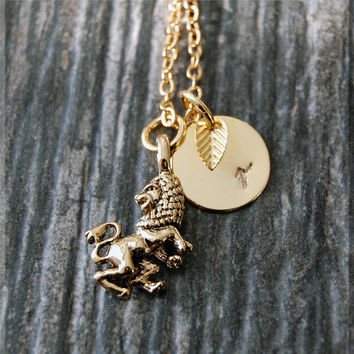 Gold Leo Zodiac Charm Necklace, Lion Initial Charm Necklace, Personalized, Zodiac Horoscope Sign, Aquarius Pendant, Zodiac Leo Jewelry