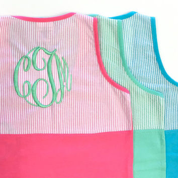Monogrammed PINK Seersucker Pocket Tank Top  Font MASTER CIRCLE in Sea Foam