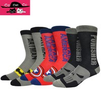 Classic Cartoon Superhero Novelty Men's Socks America Captain Superman Batman Deadpool Punisher Funny Sock Men 032W