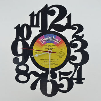 Vinyl Record Wall Clock (Disneyland its a Small World)