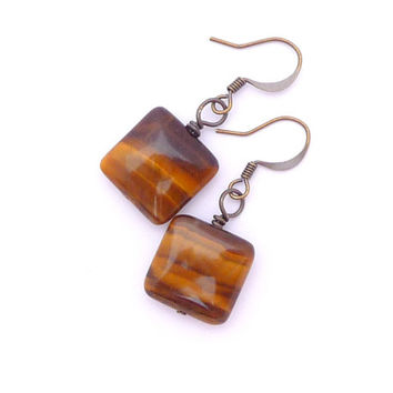 Yellow Tiger's Eye Antiqued Gold Plated Brass Square Geometric Beaded Gemstone Earrings Fall Fashion Jewelry