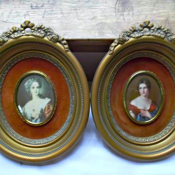 Pair of Vintage Cameo Creation Victorian Ladies Gilt Frames Ribbons Ros