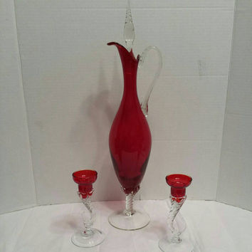 Red Glass valentine gift Italy  jug twisted Glass and Candle Holders Hand Blown glass candle holder glass red clear twisted gift idea  him