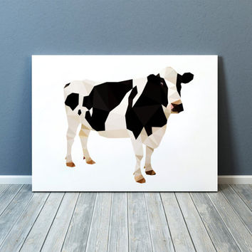 Colorful decor Cow poster Farm animal print Modern art TOA70