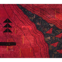 Large Art Quilt, Fabric Wall Hanging, Contemporary Fiber Art, Red & Black Journey