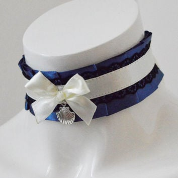 Gothic lolita choker - Midnight mermaid - kitten play collar - dark victorian lolita kittenplay ddlg cgl goth princess petplay collar