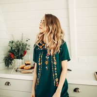 The Willa Embroidered Tunic in Forest