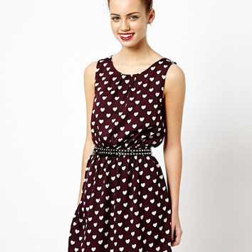 Wine Red Heart Print Sleeveless Chiffon Mini Dress