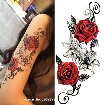 ac DCCKO2Q 1pcs Watercolor Flower Temporary Body Tattoo so Beautiful can be used for Shoulder,thigh, or Back Body decor